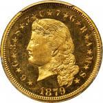 1879 Four-Dollar Gold Stella. Flowing Hair. Judd-1635, Pollock-1833. Rarity-3. Gold. Reeded Edge. Pr