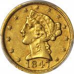 1847-D Liberty Head Half Eagle. EF-45 (PCGS).