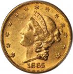 1865 Liberty Head Double Eagle. MS-61 (PCGS).