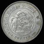 日本 新一圓銀貨(小型)丸銀打 New type 1Yen (Small size) Counterstamp 明治29年(1896) 返品不可 要下見 Sold as is No returns E