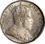 海峡殖民地银币。1910-B年5分。PCGS MS-64+