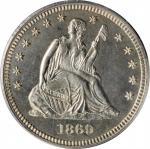 1869 Liberty Seated Quarter. Proof-64 Cameo (PCGS).