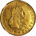 MEXICO. 8 Escudos, 1746/5-MoMF. Philip V (1700-46). NGC AU Details--Removed from Jewelry.