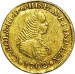 COLOMBIA. 1762-J 4 Escudos. Popayán mint. Carlos III (1759-1788). Restrepo M64.6. EF Detail — Scratc