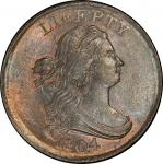 1804 Draped Bust Half Cent. Cohen-12, Breen-11. Rarity-2. Crosslet 4, No Stems. Mint State-66 RB (PC