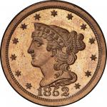 1852 Braided Hair Half Cent. Original. Large Berries Reverse. Breen 1-D. Rarity-7+. Proof-65 RD (PCG
