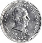 URUGUAY. 5 Centesimos, 1953. Llantrisant Mint. PCGS SPECIMEN-64 Gold Shield.