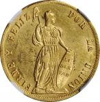 PERU. 4 Escudos, 1854-LIMA MB. Lima Mint. NGC MS-61.