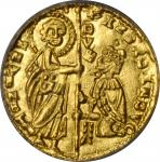 ITALY. Achaia. Zecchino, ND (1346-64). Roberto dAngio-Tarente. PCGS MS-65.