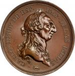 Undated (ca. 1778-1783) Carlos III Al Merito Medal. Large Size. Bronzed Copper. 54.5 mm. 3.8 mm to 4