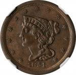 1851 Braided Hair Half Cent. C-1, the only known dies. Rarity-1. MS-63 BN (NGC).