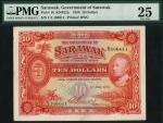 Government of Sarawak, $10, 1 July 1929, serial number C/1 166,611, red, Brooke family arms at left,