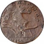 1787 New Jersey Copper. Maris 73-aa, W-5430. Rarity-4. Sprig Above Plow, Plaited Mane--Overstruck on