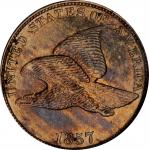 1857 Flying Eagle Cent. Snow-8, FS-901. Reverse Die Clashed with Liberty Seated Quarter. MS-62 (NGC)