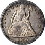 1869 Liberty Seated Silver Dollar. MS-64 (NGC).
