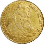 SPAIN. Contemporary Counterfeit 8 Escudos, 1786-DV. Madrid Mint. Charles III. EXTREMELY FINE.
