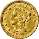 1840-O Liberty Head Quarter Eagle. Winter-2. Small O. AU Details--Gouged (PCGS).