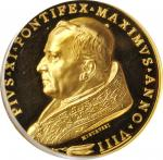 ITALY. Vatican. Lateran Treaty/50th Year of Priesthood Gold Medal, 1929 Year VIII. Rome Mint. Pius X