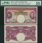 Board of Commissioners of Currency, Malaya, $10, 1 January 1940, serial number A/81 047520, purple o