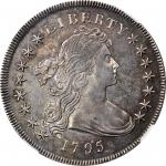 1795 Draped Bust Silver Dollar. BB-52, B-15. Rarity-2. Centered Bust. AU-53 (NGC).