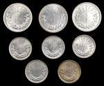 1925年蒙古钱币一组。八枚。MONGOLIA. Octet of Silver Denominations (8 Pieces), AH 15 (1925). Grade Range: EXTREM