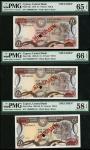 Central Bank of Cyprus, specimen £1, 1979-89, (Pick 46s, 50s, 53as), in PMG holders, 65 EPQ, 66 EPQ,