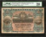 1913-23年香港上海汇丰银行拾圆。HONG KONG. Hong Kong & Shanghai Banking Corporation. 10 Dollars, 1913-23. P-167.
