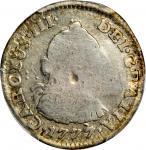 COLOMBIA. 1777-JJ 1/2 Real. Santa Fe de Nuevo Reino (Bogotá) mint. Carlos III (1759-1788). Restrepo