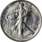 1917-D Walking Liberty Half Dollar. Reverse. MS-64 (PCGS).