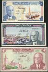 Banque Centrale de Tunisie, 1/2 Dinar, 1 Dinar, 5 Dinars, 1st June 1965 (3), 027294, 954959, 945061