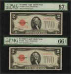 Lot of (2) Fr. 1505. 1928D $2 Legal Tender Note. PMG Gem Uncirculated 66 & Superb Gem Uncirculated 6