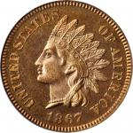 1867 Indian Cent. Snow-PR1, the only known dies. Proof-65 RD Cameo (PCGS).