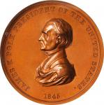 1845 James K. Polk Indian Peace Medal. Large Size. Bronzed Copper. 76 mm. Julian IP-24. Specimen-64