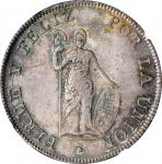 PERU. 8 Reales, 1826-LIMA JM. Lima Mint. NGC MS-64.