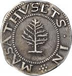 1652 Pine Tree Shilling. Large Planchet. Noe-1, Salmon 1-A, W-690. Rarity-2. Pellets at Trunk. VF-35