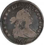 1806 Draped Bust Half Dollar. O-126, T-26. Rarity-7-. Pointed 6, Stem Through Claw. VG-8 (PCGS). CAC