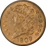 1809 Classic Head Half Cent. Cohen-6, Breen-6. Rarity-1. MS-65+ BN (PCGS). CAC.