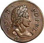 1760 Voce Populi Halfpenny. Nelson-11, Zelinka 14-C, W-13960. P Below Bust. AU-53 (PCGS).