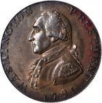 1791 Large Eagle Cent. Musante GW-15, Baker-15, W-10610. Rarity-2. Lettered Edge. MS-63 BN (PCGS).