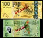 Reserve Bank of Fiji, specimen $5, $100, ND (2013), (Pick 115s, 119s, TBB B526s, B530s), uncirculate
