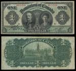 Canada. Dominion of Canada. $1. January 3, 1911. P-27b. Black on green. Earl and Countess Grey. Blac