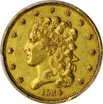 1834 Classic Head Half Eagle. HM-3. Rarity-2. Plain 4. AU-53 (PCGS).