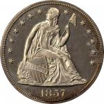 1857 Liberty Seated Silver Dollar. OC-P1. Rarity-5. Proof-63 Cameo (PCGS).
