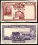 Banco de Portugal, Progressive proofs for 100 escudos (7), ND (1928-30), obverse, brown, portrait G.