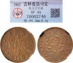 1902年吉林省造光绪元宝十文铜币一枚,日本著名铜元收藏家秋友晃旧藏,公博 XF45