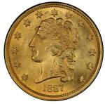 1837 Classic Head Quarter Eagle. McCloskey-1. Mint State-65 (PCGS).