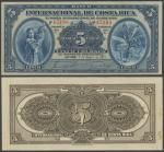 Banco Internacional De Costa Rica, 5 Colones, 4 January 1919, serial number 45198, dark blue on mult