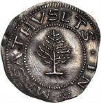 1652 Pine Tree Shilling. Large Planchet. Noe-1, Salmon 1-A. W-690. Rarity-2. Pellets at Trunk. AU-50