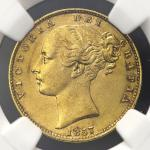 GREAT BRITAIN Victoria ヴィクトリア(1837~1901) Sovereign 1857 NGC-AU55 EF
