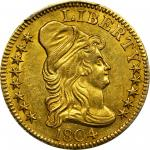 1804 Capped Bust Right Half Eagle. BD-1. Rarity-4+. Normal (a.k.a. Small) 8, Small 4. MS-61 (PCGS).